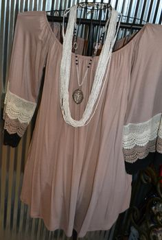 MOCHA CROCHET LACE DETAIL SLEEVE TUNIC DRESS