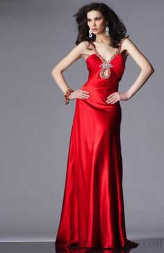 2015 Allure V-neck Floor-length Elastic Woven Satin Evening Dresses