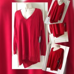 Vince Camuto XL Ravishing Red Sweater unique style amazing comfortable top Sweaters