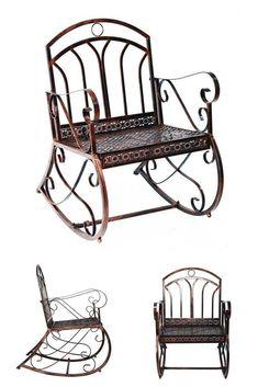 Outdoor Metal Rocking Chair Bronze Garden Patio Armchair Lounge Seat Furniture for sale online Metal Rocking Chair, Lounge Seating, Outdoor Furniture, Outdoor Decor, Armchair, Bench, Chairs, Bronze, Patio