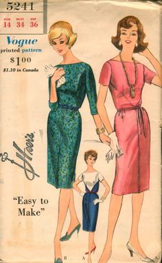 Vogue 5241; ©1961; One Piece Dress. Slim skirt with front and back top stitching detail joins bodice at waist-line. Diagonal side front and side back lapped seams. Straight neck-line. Below elbow length and short sleeves. Self tie belt or novelty belt.