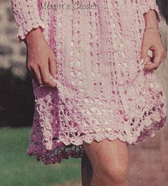 INSTANT DOWNLOAD PDF Vintage Crochet Pattern Flower-Patterned Lacey Dress Feminine and Romantic