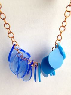 Chunky Lemon Necklace – Half and Half Fluo and Patent Blue– Laser Cut £35.00