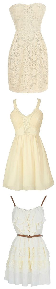 White, Cream, Ivory, Oatmeal Dresses! #fashion #dress #wedding #graduation #party #event #rehearsal