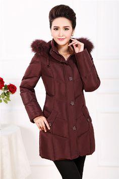 新款中老年羽绒服女装正品中长款中年加厚大码妈妈装修身羽绒外套-淘宝网