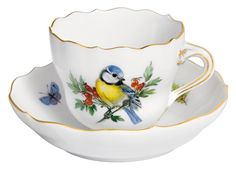 """Espressotasse, Form """"Neuer Ausschnitt"""", Vintage Vogelmalerei, Motiv - Blaumeise, Goldrand, V 0,1 l"""