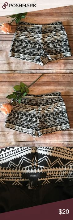 FOREVER 21 Aztec Print Mid Waist Shorts Aztec print shorts, never worn! About mid Waist, not quite high. They were tried on with a black tank top and looked great for summer with some black sandals! Size medium, but honestly fit more like a small. I wear a size 2 and they fit me! Please let me know if you have any sizing questions prior to purchasing!  Forever 21 Shorts