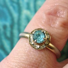 adorable vintage aquamarine and clear by smallandmousey on Etsy, $10.00