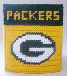 Green Bay Packers tissue box cover in plastic canvas PATTERN ONLY by AuntCC for $2.50