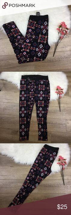 Black Aztec butter soft plus size leggings NWT butter soft leggings, black with colorful Aztec print. Size 2X TTS. Would make an adorable festival outfit by adding a crop or flowy top. Bundle with any other item to save 20%! eye candy Pants Leggings