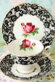 This pretty little set was a gift from Mary M. It had belonged to her mother-in-law. ~ Beautiful Tea Time with Miss Frivolous Fabulous