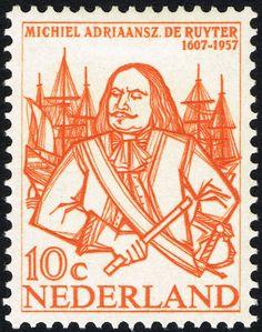 Stamp: Michiel Adriaanszoon de Ruyter (1607-76) admiral (Netherlands) (Ruyter, M.A. De) Mi:NL 697,Sn:NL 370,Yt:NL 671,NVP:NL 693