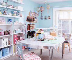 home business, craft studio, room Craft Room Storage, Room Organization, Craft Rooms, Scrapbook Organization, Storage Ideas, My Sewing Room, Sewing Rooms, Space Crafts, Home Crafts