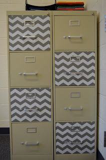 Use contact paper to spice up a boring filing cabinet.