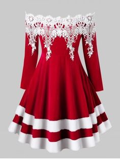 Plus Size Off Shoulder Kontrast Lace Velvet Weihnachtskleid size herbstmode formal Plus Size Vintage Dresses, Plus Size Dresses, Plus Size Outfits, Pin Up Dresses, Casual Dresses, Fashion Dresses, Robes Pin Up, Plus Size Kleidung, Patchwork Dress