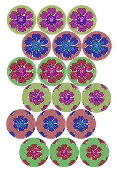 "Wallpaper Flowers #1 Bottle cap image pack Formatted for printing on 4"" x 6"" photo paper"
