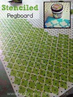Stenciled pegboard | OrganizingMadeFun.com