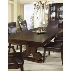 @Overstock - This sturdy table is built for everyday use. This furniture piece shines with a dark walnut finish and features a dramatic burl diamond pattern on the top.http://www.overstock.com/Home-Garden/Somerton-Villa-Madrid-Trestle-Table/5998330/product.html?CID=214117 Add to cart to see special price