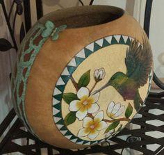Enchanted Southwestern Hummingbird Flower Blossom Gourd Vase by Christy Barajas