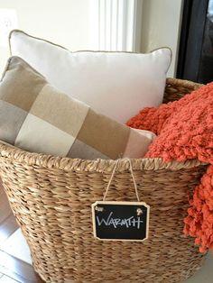 Fall Living Room Makeover - Hometalk Decorating Ideas - Any season... warmer basket :)
