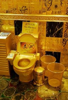 """The bathroom is made up of precious gold! This weird bathroom is found in one of Hongkong's jewelry stores and reportedly cost 4.8 million to make. Its centerpiece is a 900-pound solid gold toilet which gives a whole new meaning to the phrase 'Royal Flush.' Customers can use the toilet if they spend 128 dollars in the store."""