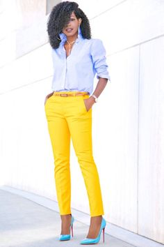 Here is Yellow Pants Outfit Ideas for you. Yellow Pants Outfit how to wear purple pantsstylish outfit ideas who what wear. Summer Work Outfits, Casual Work Outfits, Office Outfits, Work Attire, Work Casual, Classy Outfits, Cute Outfits, Outfit Summer, Outfit Work