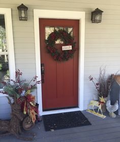 Front porch decorated Porch Decorating, Front Porch, Garage Doors, Outdoor Decor, Home Decor, Style, Balcony Decoration, Swag, Decoration Home