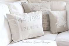"""12""""x18"""" or 12""""x16"""" Linen Nautical Hand Painted Longitude & Latitude Pillow Cover"""