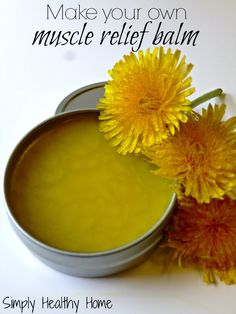 Easy DIY muscle soothing relief using dandelions & essential oils for muscle tension. Perfect on those overworked & stressed muscles without using chemicals. Healing Herbs, Medicinal Herbs, Natural Healing, Natural Home Remedies, Herbal Remedies, Health Remedies, Natural Medicine, Herbal Medicine, Dandelion Recipes