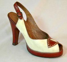 Vintage 40s SPECTATOR 2 Tone PLATFORM Pin Up Peep Toe Shoes Heels MORRIS WOLOCK