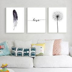 Black and White Dandelion Feathers Poster and Print Letter Love Wall Art Canvas Painting What is Decoration? Decoration may be … Love Wall Art, Framed Wall Art, Wall Art Decor, Canvas Wall Art, White Wall Decor, Wall Art Sets, White Dandelion, Dandelion Wall Art, Feather Wall Art