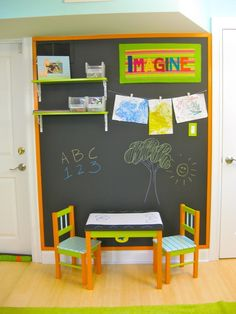 diy chalkboard wall - a must for any kids art station