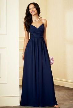 Spaghetti Straps Navy Blue Bridesmaid Dresses 2016 V Neck Ruched Chiffon Bodice Evening Dresses Formal Gown, $67.84 from vonsbridaldress on m.dhgate.com | DHgate Mobile