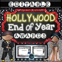 EDITABLE - End of Year Awards  Celebrate in style with these Hollywood Themed End of Year Awards! Awards for girls and boys!