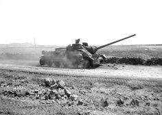 Burned Egyptian SU-100 self-propelled gun, Sinai, Six Day War, June 1967