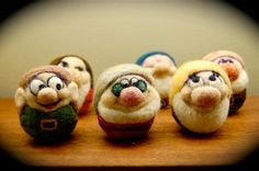 Felted art~ 6 of the 7 dwarfs -- let's see, Dopey, Doc, ?Happy, Sneezy, Sleepy, Grumpy, so I guess we are missing Bashful?