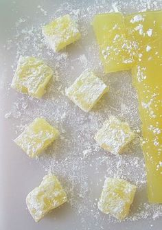 Lemon Turkish Delight – Alison's Wonderland Recipes – cooking recipes Lemon Curd Dessert, Lemon Recipes, Sweet Recipes, Lemon Candy Recipe, Bonbon Fruit, Cocina Natural, Tasty, Yummy Food, Homemade Candies