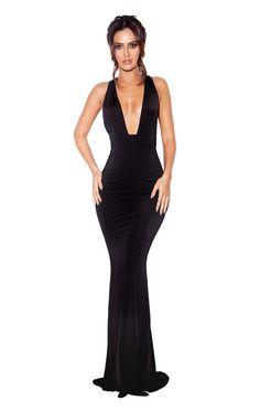 5a882345f7e Clothing   Max Dresses    Miacova  Black Silky Jersey Plunge Maxi Dress  Plunge Dress