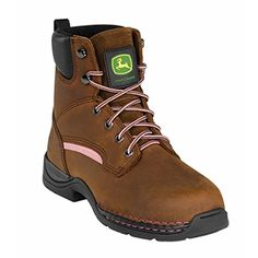 John Deere Womens JD3612 6 Steel Toe Lace Up BootBrownPink75 M US >>> Visit the image link more details.(This is an Amazon affiliate link and I receive a commission for the sales)
