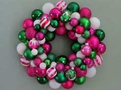 PINK White GREEN CHRISTMAS Ornament Wreath by dottiegray on Etsy, $58.00