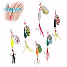 Bobing 6Pcs/lot 9cm Metal Fishing Lures Highly Reflective Spinners With Feather Fake Fish Lure Baits Fish Inducers Accessories #Affiliate