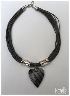 Grey multi strand with bone heart- RazelleT Bones, Beaded Necklace, Grey, Heart, Jewelry, Fashion, Beaded Collar, Gray, Moda