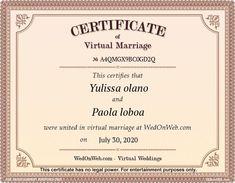 Certificado de matrimonio - Bodas virtuales para divertirse por WEDonWEB.