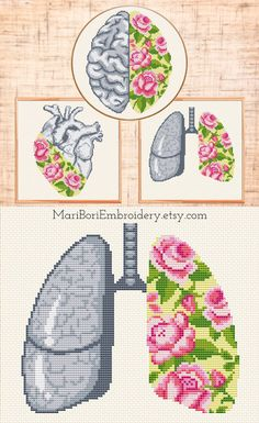 Set of 3 Floral Anatomical organs cross stitch pattern | Floral Heart, Brain, Lungs