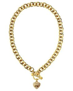 Pave Heart & Toggle Luxe Necklace