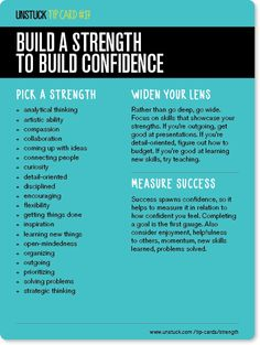 An alternative take on New Year's resolutions: Build a strength to build confidence. By Unstuck.