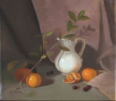 """""""White Pitcher, Tangerines, and Cranberries"""" 12""""x14"""" oil on linen by Beverly Brown"""