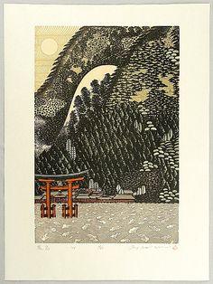 Woodblock print by Ray Morimura born 1948 Title: Itsukushima. Oriental Print, Japanese Painting, Japanese Prints, Japan Art, Print Artist, Pablo Picasso, Woodblock Print, Modern Art, Cool Art