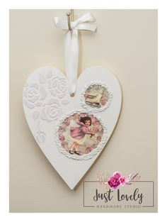 Lovely big white heart with roses and girl. I used Americana Decor Chalky Finish, snow and structural paste. As protection the varnish with sparkle. Winter Christmas, Christmas Decor, Wooden Hearts, Roses, Sparkle, Studio, Handmade, Gifts, Stuff To Buy
