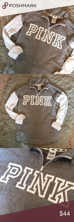 VS PINK Quarter Zip EUC just don't find myself wearing it much (I have too many lol) PINK Victoria's Secret Tops Sweatshirts & Hoodies